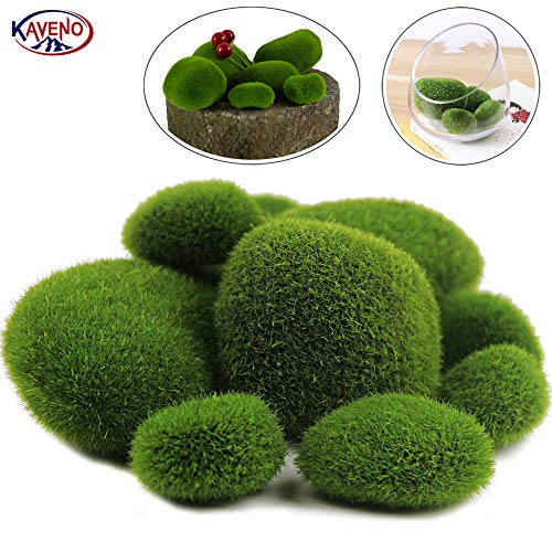 Fake Moss Decor for Floral Arrangements Woohome 25 PCS 2 Size Artificial Moss Rocks Decorative Green Moss Balls Fairy Gardens and Crafting