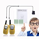 Walkie Talkies for Kids Rechargeable Long Range Walky Talky Girls Boys Long Range 2 Way Radio 22 Channel With Flashlight Kids Outdoor Toys (Yellow)