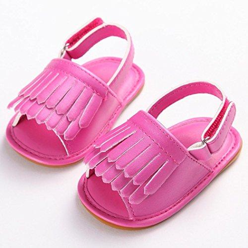 Hunpta Kleinkind Mädchen Krippe Schuhe Neugeborenen Blume weiche Sohle Anti-Rutsch-Baby Sneakers Sandalen Hot Pink