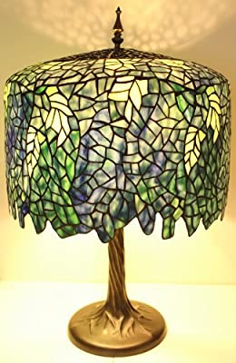 Blue Wisteria Tiffany Style Table Lamp with Tree Trunk Base