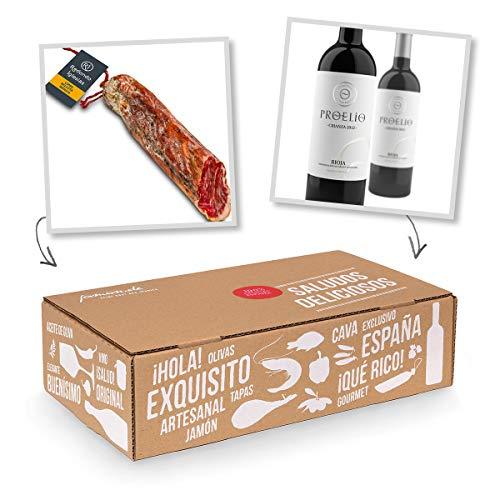 Geschenk-Box Klassisches Spanien – Pata Negra Lomo de Bellota 100% Iberico und Rioja-Rotwein Crianza – Geschenk für…