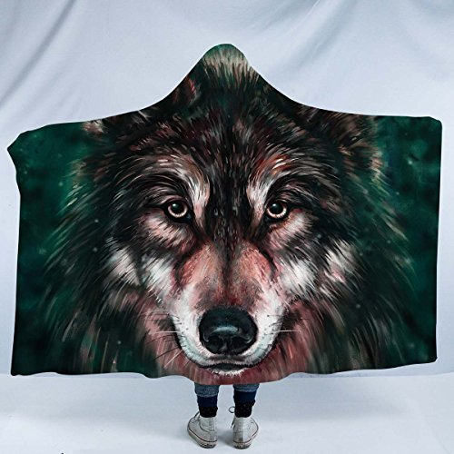 "Price comparison product image Sleepwish Wolf Hooded Blanket Sherpa Snuggle Animal Print Black Fleece Blanket Hoodie Wearable Blanket (Hooded Blanket 60""x 80"")"