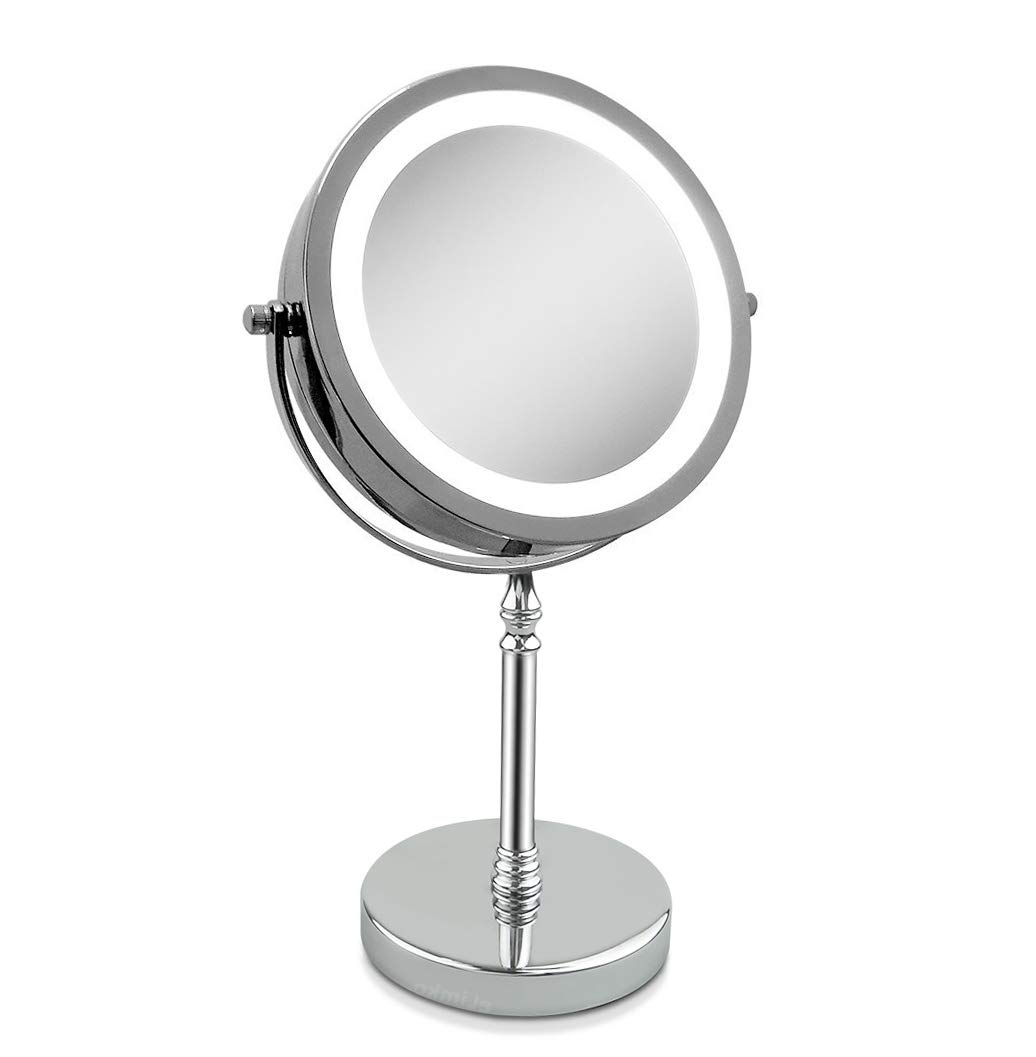 Magnifying Mirror, Tabletop Magnify 10x 7-Inch LED Makeup Mirror Double-Sided, Lighted 1x or 10x Magnification Mirror