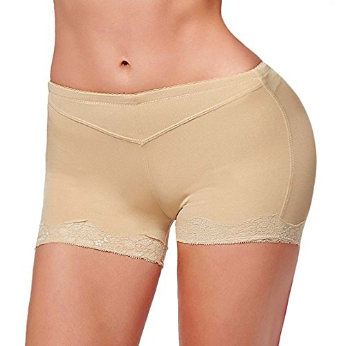 [Ursexyly Lady Butt Lifter, Sexy Fullness Thong Brief Enjoy Your Beautiful Curve (M, Beige)] (Bum Shorts Costume)