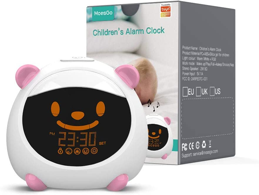 MoesGo Kids' Alarm Clock and Smart Sleep Trainer with Night Light and Sounds, Compatible with Amazon Echo and Google Home (Pink)