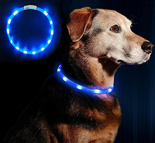 Collar LED para perro, LaiXin intermitente LED collar de perro en silicona impermeable USB recargable ultra brillante reflectante Collar de perro iluminado ...