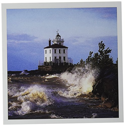 3dRose Fairport Harbor Lighthouse Looking Over Lake Erie - Greeting Cards, 6 x 6 inches, set of 6 (gc_61705_1) ()