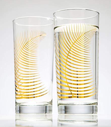 Metallic Gold Fern Glasses Set of 2 Highball Glasses, Gold Glassware, Gold Glasses, Wedding Glasses