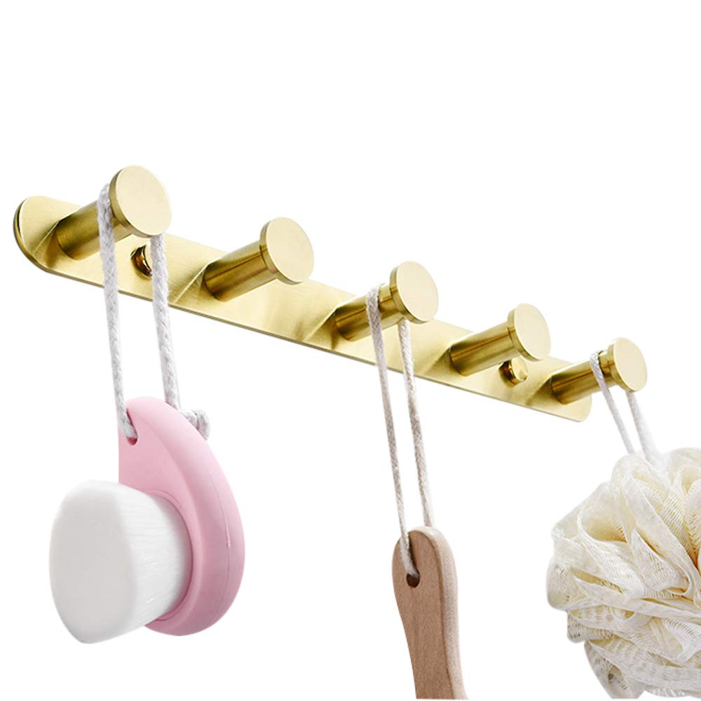 BigBig Home Wall Mounted Coat Rack with 5 Hanging Hooks SUS 304 Heavy Duty Brushed Nickle Coat Hook Hallway Hat Organizer Key Holder Kitchen Perfect for Entryway Bathroom