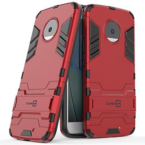 Moto X4 Case, CoverON Shadow Armor Series Modern Style Slim Hard Hybrid Phone Cover with Kickstand Case for Motorola Moto X4 (Moto X 4th Gen 2017) - Red