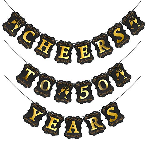 50th Birthday Decorations Anniversary Wedding Party Banner,Pre-Assembled Gold Foil Cheers to 50 Years Banner for 50 Years Old Happy Birthday Party ()