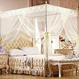 Bluelans 4 Corner Post Bed Canopy Mosquito Net Twin Full Queen King Size Netting Bedding White (Queen/King - 71''(W)79''(L), Beige)