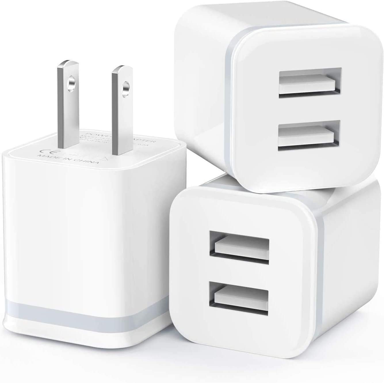 USB Wall Charger, LUOATIP 3-Pack 2.1A/5V Dual Port USB Cube Power Adapter Charger Plug Charging Block Replacement for iPhone Xs/XR/X, 8/7/6 Plus, Samsung, LG, HTC, Moto, Android Phones