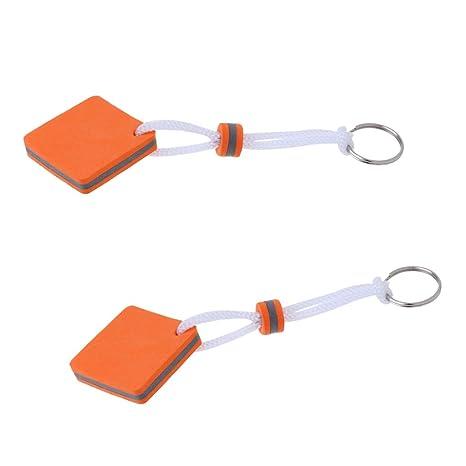 MagiDeal Llavero Flotante Forma Cuadrado Color Naranja (2 ...