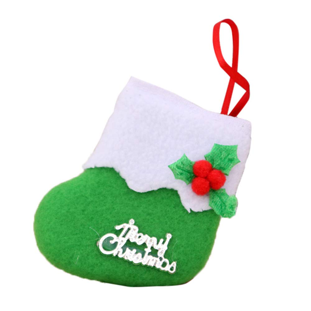 LIULIULUChristmas Decoration Stockings Sock Small Boots Pendant Hanging Burlap Decorations Red Poinsettia Flower Design, New Year Christmas Socks Gift (Green)