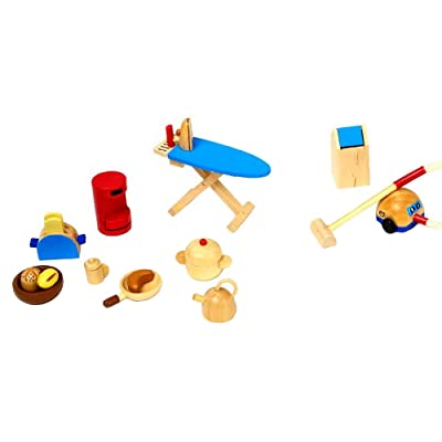 Goki 51939 Wooden Kitchen Accessories for Dolls Houses: Toys & Games