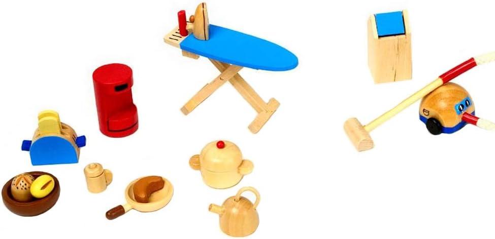 Goki 51939 Wooden Kitchen Accessories for Dolls Houses