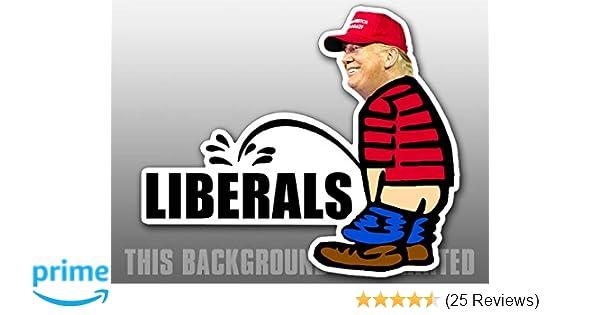 Trump Pissing peeing on Liberal Anti Liberal helmet decal hard hat sticker