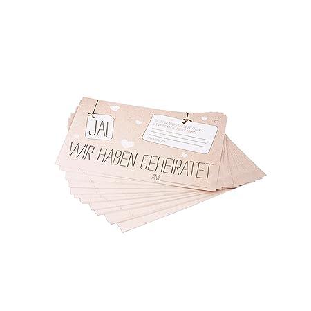 Ballonkarten JA! in Kraftpapier Optik, 50 Stück im Set - Ballonflugkarten mit der Aufschrift Ja! Wir haben geheiratet für den