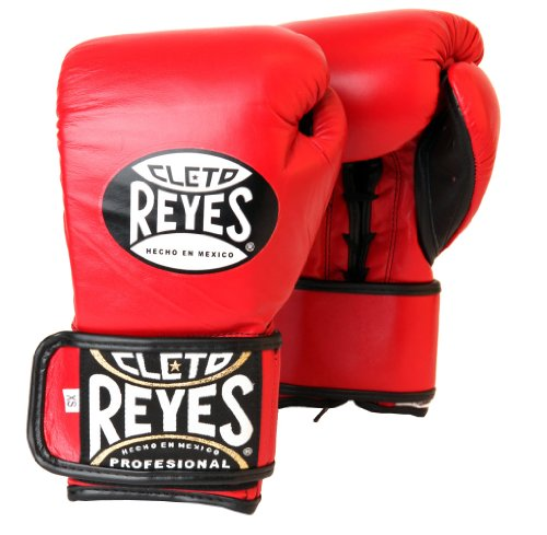 Cleto Reyes Lace Up Hook and Loop Hybrid Boxing Gloves (Red, LARGE)
