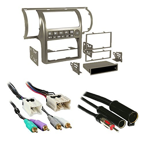 Metra 99-7604T Tan Single/Double DIN Stereo Installation Dash Kit for 2003-2004 Infiniti G35 + Wiring Harness + Antenna Adapter -