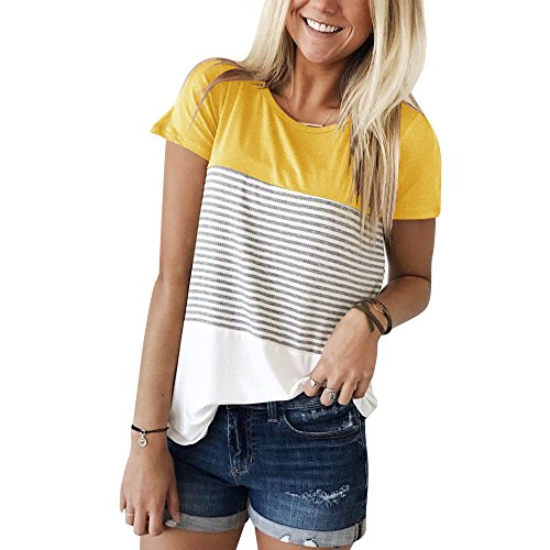 (YunJey Short Sleeve Round Neck Triple Color Block Stripe T-Shirt Casual Blouse Yellow)