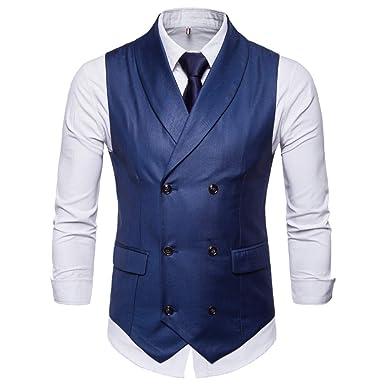 ba4eb2397e6ac Gilet Homme Double Boutonnage de Costume Slim fit sans Chemise Cravate
