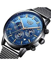 LIGE Uhren Herren Mode Chronographen Analoger Quarz Edelstahl Wasserdich Schwarze Quartz Milanaise Mesh Armband Geschäft Casual Datum Uhr Blau …