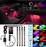 Led Interior Car Lights, Controller Led Lights for Cars, Waterproof Multicolor Music Underglow Lighting Kits with Wireless Control and Sound Active Function, Car Charger Included, DC 12V