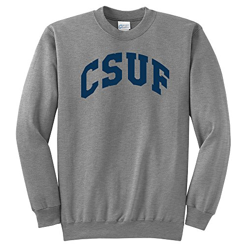 NCAA Cal State Fullerton Titans Arch Classic Crewneck Sweatshirt, Large, Light Heather Grey