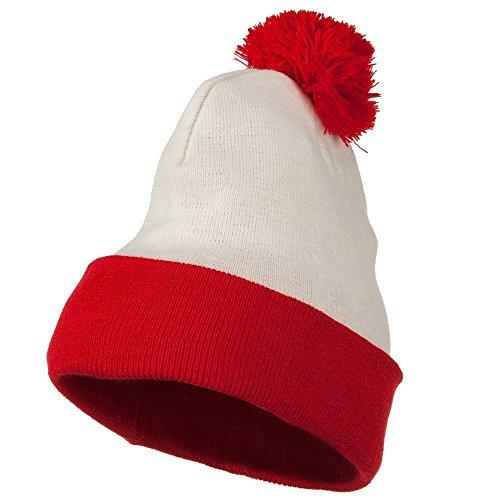 BJ & K Unisex Acrylic Red White Long Beanie Waldo Costume Crown 8'' Deep (Waldo Costume Nyc)