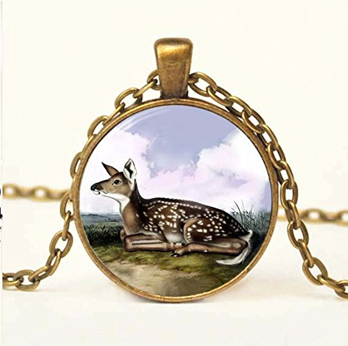 Vintage Fawn Necklace, Glass Art Pendant, Picture Pendant Photo Pendant