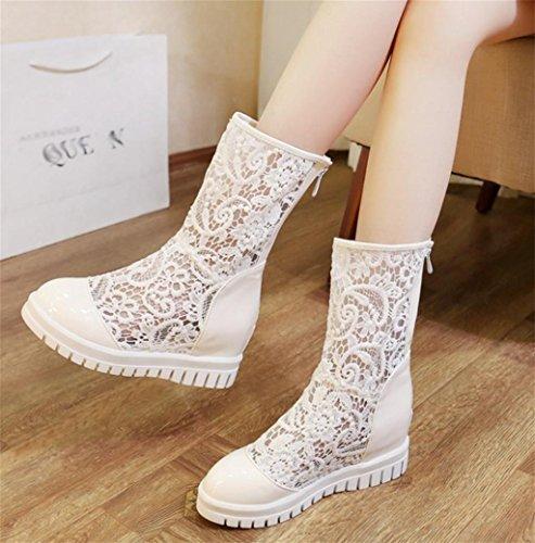 Personalidad Meters Las Señoras De Tacones Alto Mujer Temperamento Cuero Elegante White Tacón Zapatos Hetao Encaje Los 1UgCqw