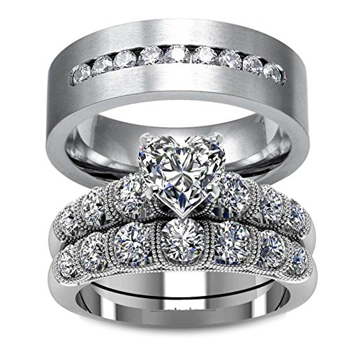 (LOVERSRING Couple Ring Bridal Set His Hers White Gold Plated CZ Stainless Steel Wedding Ring Band Set)