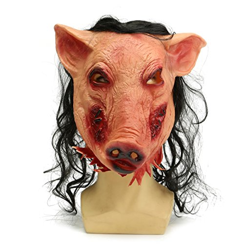 Mask With Latex Hair Deluxe Lion (Halloween Scary Creepy Pig Animal Mask Halloween Costume Party)