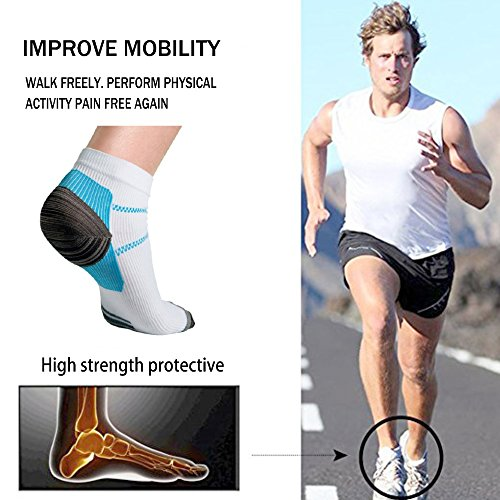 Sport Plantar Fasciitis Arch Support Compression Foot Socks/Foot Sleeves (7 Pairs) - Increases Circulation, Relieve Pain Fast (Black&Blue, L/XL) by Iseasoo (Image #1)