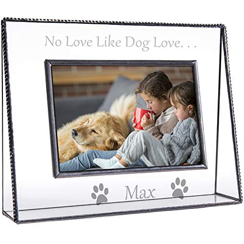 J Devlin Pic 319-46H EP592 Personalized Dog Picture Frame Engraved Clear Glass Tabletop 4 x 6 Horizontal Pet Photo -
