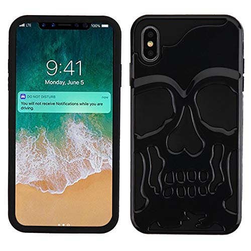 Protective Skull iPhone X/XS case Compatible with iPhone X Case and iPhone Xs Case Cover Skull Design (Black)