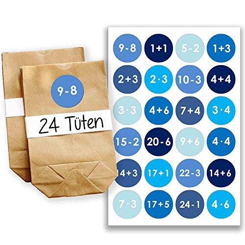Adventskalender Set - 24 braune Geschenktüten und 24 blaue Zahlenaufkleber - zum selber basteln und zum befüllen - Mini Set 9 von Papierdrachen