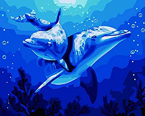 YEESAM ART DIY Paint by Numbers for Adults Beginner Kids, Dolphin Love Blue Ocean 16x20 inch Linen Canvas Acrylic Stress Less Number Painting Gifts -
