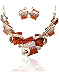 Vintage Statement Necklace and Earrings Set - Fashion Chunky Jewelry for Women