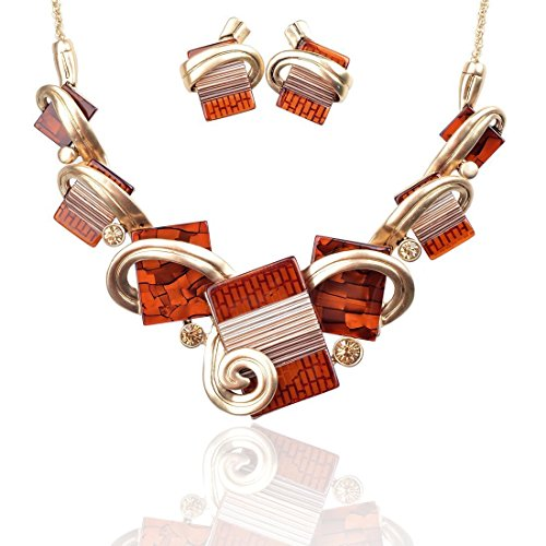 Ginasy Vintage Costume Jewelry Acrylic Resin Charm Stone Necklace Earring Set Jewelry Set (Necklace and Earring Set Red)