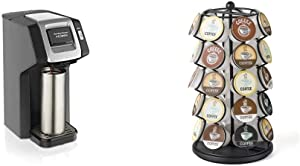 Hamilton Beach FlexBrew Single Serve Coffee Maker, Compatible with K-Cup Pods and Grounds, Black (49974) & K-Cup Carousel - Holds 35 K-Cups in Black