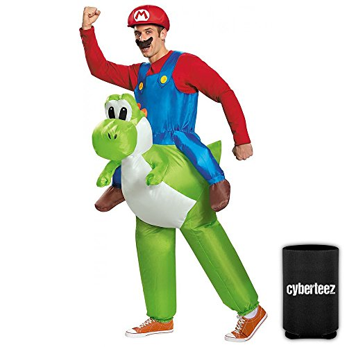 Mario Riding Yoshi Adult Men's Inflatable Costume Nintendo Mario Brothers + Coolie