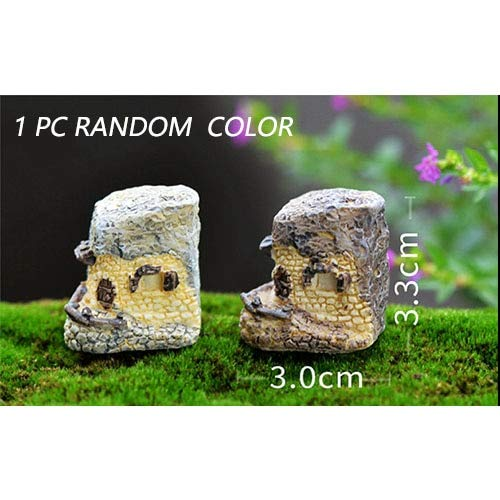 BLUESKYUP Figurines & Miniatures - 1pc 15 Style Mini Small House Cottages DIY Toys Crafts Figure Moss Terrarium Fairy Garden Ornament Landscape Decor Random Color 1 -