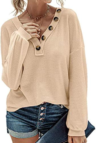 Women Long Sleeve Casual Waffle Knit Shirts V-Neck Slouchy Loose Blouses Plain Faux Button Lightweight Pullover