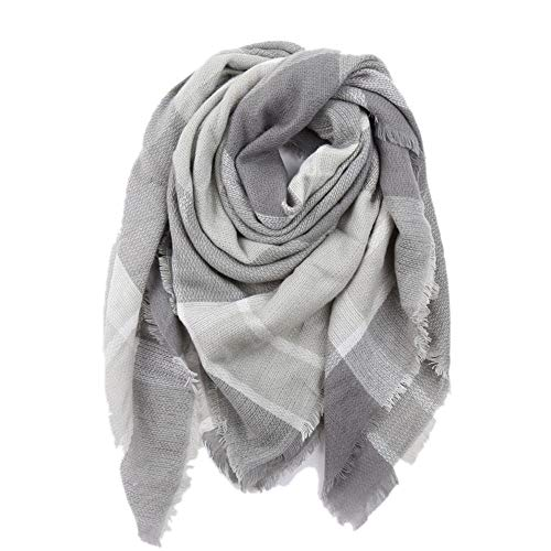 MJ-Young Designer Square Women Scarf Winter Cashmere Thickened Shawls and Wraps Plaid Blankets Gray 140cmx140cm