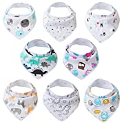 Extra Soft 8-Pack Baby Bandana Bibs, Super Absorbent For Boys And Girls, Drool Bibs Organic Cotton, Baby Bibs For Drooling And Teething Bibs by Friendly Teddy.