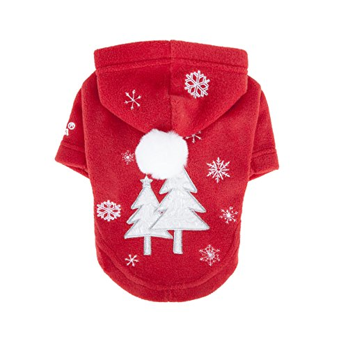 Puppia Authentic Snow Day Hoodie, XX-Large, Red by Puppia