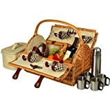 Picnic at Ascot Yorkshire Basket for 4 People with Blanket and Coffee, Wicker/London Plaid